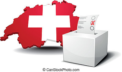 Switzerland with ballot box