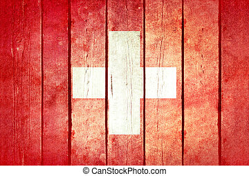 Switzerland wooden grunge flag.