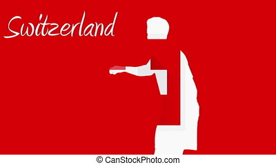 Switzerland world cup 2014 animation with player in red and...