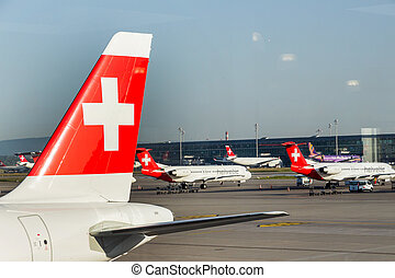switzerland, zurich kloten airport - switzerland, zurich:...
