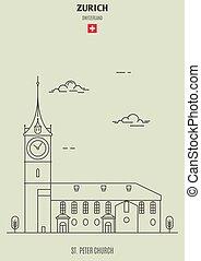 switzerland., zurich, rue., église, repère, peter, icône
