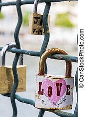 switzerland zurich, - switzerland, zurich, love locks on a...