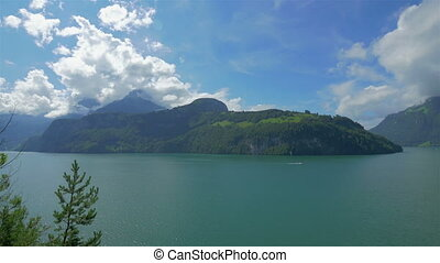 Switzerland's landscape with lake and mountains, 4k UHD