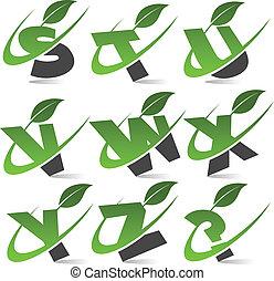 swoosh, 緑, アルファベット, セット, 3