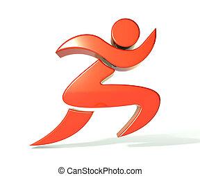 Swoosh 3D figure icon  - Leader swoosh 3D figure icon