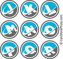 swoosh, alfabeto, 2, jogo, ícones