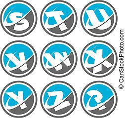 swoosh, alfabeto, 3, jogo, ícones