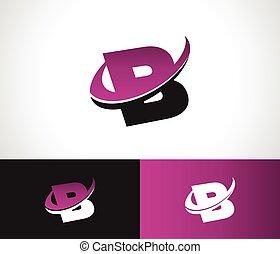 swoosh, alfabeto, b, icono