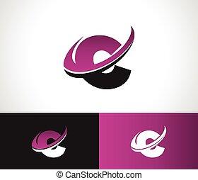 swoosh, alfabeto, c, icono