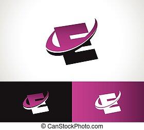 swoosh, alfabeto, e, icono