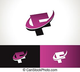 swoosh, alfabeto, f, icono