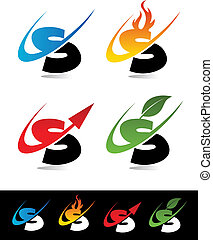 Vector set of colorful swoosh S icons