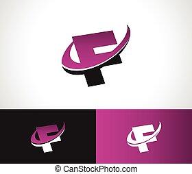 swoosh, alphabet, ikone, f