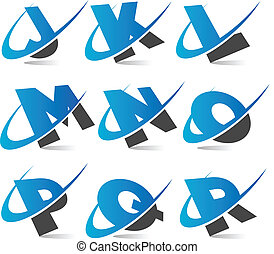 Swoosh Alphabet Set 2 - Set of alphabet swoosh icons