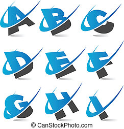 Swoosh Alphabet Set1 - Set of swoosh alphabet icons.