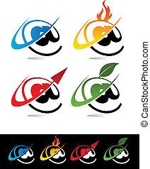 swoosh, aroba, icone