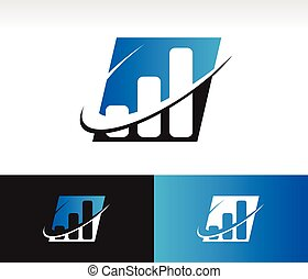 Swoosh Bar Chart Icon - Bar chart icon with swoosh graphic...