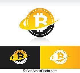 Swoosh Bitcoin Icon - Bitcoin icon with swoosh graphic ...