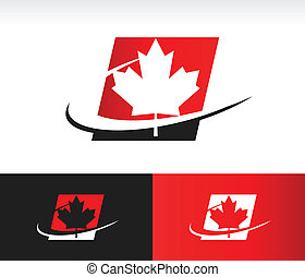Canada maple leaf icon with swoosh graphic element