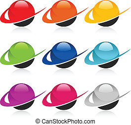Swoosh Colorful Sphere Icons
