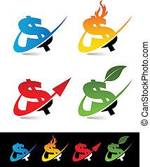 swoosh, dollar, icônes