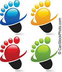 Swoosh Foot Icons - Set of swoosh foot icons.