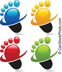 Set of swoosh foot icons.