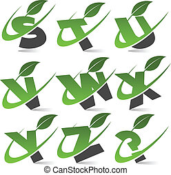Swoosh Green Alphabet Set 3 - Set of alphabet with green...