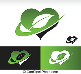 Swoosh Green Heart with Leaf Symbol