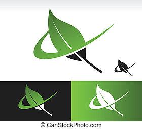Swoosh Green Leaf Icon