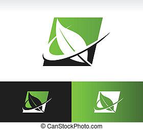 Swoosh Green Leaf Panel Icon