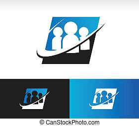 Swoosh Group People Icon