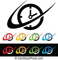 swoosh, horloge, icônes