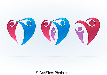 Swoosh icon set with family and love theme. Vector illustration.