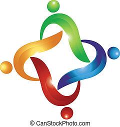 swoosh, logo, vektor, gemeinschaftsarbeit, leute