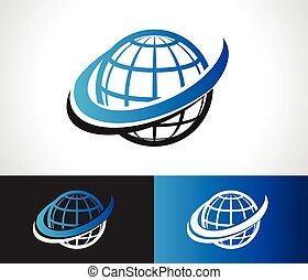 swoosh, logotipo, icono, mundo