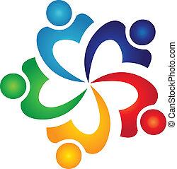 swoosh, logotipo, vector, trabajo en equipo, gente