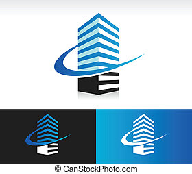 Modern building icon with swoosh graphic element