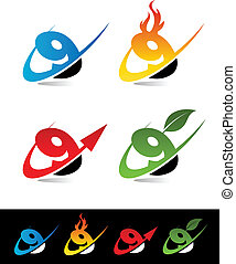 Swoosh Number Icons 9