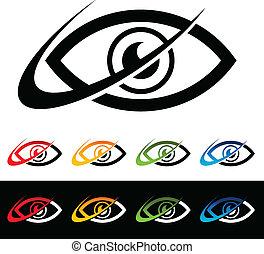 swoosh, occhio, icone