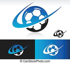 swoosh, pelota del fútbol, icono