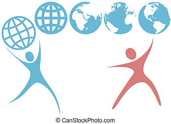 Two dynamic blue swoosh earth symbol people hold four versions of the globe like balls.