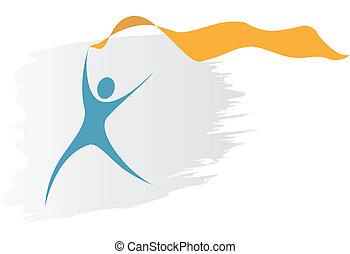 swoosh, símbolo, persona, corre, con, fluir, bandera de la...