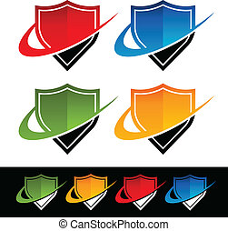 Swoosh Shield Icons - Shield icons with swoosh graphic...