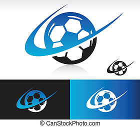 Swoosh Soccer Ball Icon - Soccer Ball icon with swoosh...