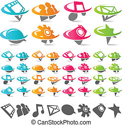 Swoosh Social Media Icons - Set of swoosh social media icons...