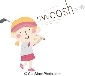 swoosh, son, onomatopoeia, golf, girl, gosse