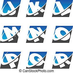 Swoosh Sport Alphabet Icons Set 2 - Alphabet set with swoosh...