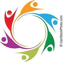 Swoosh teamwork people logo