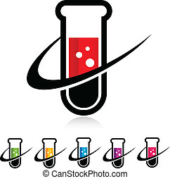 Swoosh Test Tube Icons - Test tube with swoosh graphic...